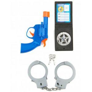 Kit policier enfants pistolet, portefeuille et paire de menottes
