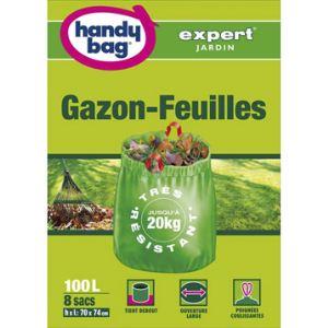 Handy Bag 3557880352301 - Sac poubelle Gazon feuilles 1 sachet de 8 sacs 100 L