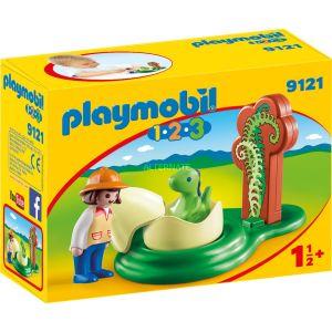 Playmobil 9121 - 1.2.3 : Exploratrice et bébé dinosaure