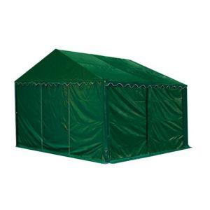 Intent24 Abri / Tente de stockage ECONOMY - 3 x 4 m en vert fonce - toile PVC 500 g/m² imperméable