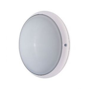 Ebénoid Hublot extérieur fluo 9W + 9W Ø 245mm blanc verre avec lampes 4000K 2G7 et ballasts elec CL2 IK02 IP54 DUNE 079103