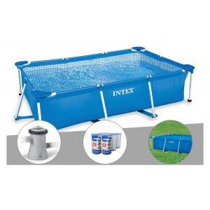 Intex Kit piscine tubulaire rectangulaire 3,00 x 2,00 x 0,75 m + Filtration à cartouche + 6 cartouches de filtration + Bâche à bulles