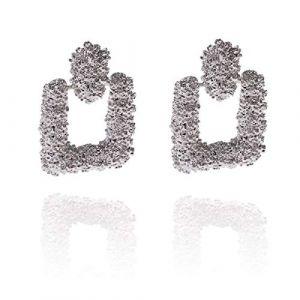 La Modeuse Boucles d'oreilles texturées à forme rectangulaire