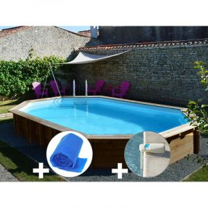 Sunbay Kit piscine bois Safran 6,37 x 4,12 x 1,33 m + Bâche à bulles + Alarme
