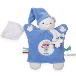 Kaloo Doudou attache sucette marionnette Imagine Ourson bleu