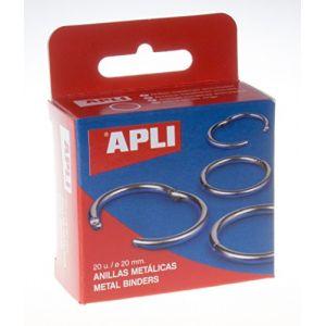 APLI 00451 - Boîte de 20 anneaux métalliques articulés Ø 20 mm