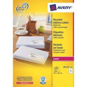 Avery-Zweckform LR7163-100 - Boîte de 1400 étiquettes adresses recyclées laser (3,81 x 9,91 cm)