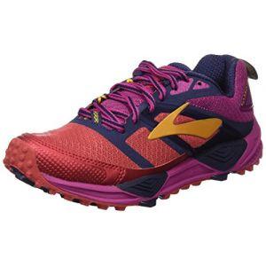 Brooks Cascadia 12, Chaussures de Course Femme, Multicolore (Poppyred/Peacoat/Batonrouge), 38.5 EU