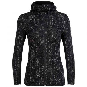 Icebreaker Women´s Away L/S Zip Hood Showers - Veste en laine taille M, noir