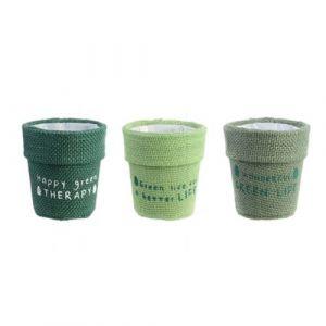The home deco factory Lot de 3 cache-pots en jute plastifié Little Garden - Diam. 13 cm - Vert
