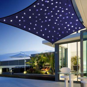 Morel Voile d'ombrage ciel étoile rectangulaire solaire led 3x2m toile 180 g/m² éclairage fixe ou animé