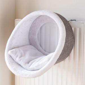 Trixie Abri douillet radiateur - Ø38x34cm - Blanc et gris - Pour chat