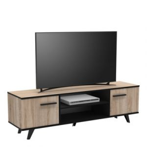 "Meuble TV 2 Portes & 2 Niches ""Ella"" 151cm Naturel"