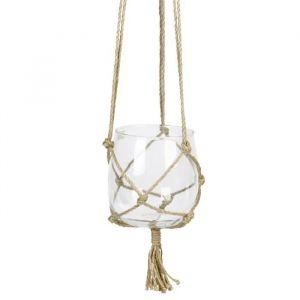 Boule en verre à suspendre - Avec corde en chanvre - Ø 15 cm - Blanc transparent