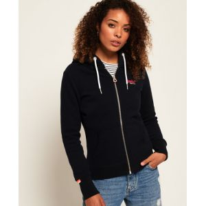 Superdry Label Ziphood Pull, Bleu (Eclipse Navy 98T), X-Small (Taille Fabricant: 8) Femme