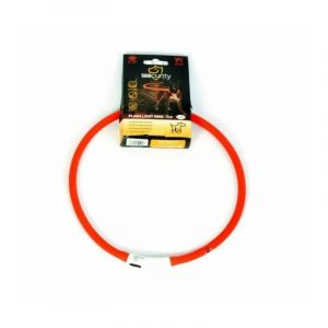 Duvo Anneau Lumineux Seecurity Flash Light Ring USB Silicone - 70 cm - Rouge - Pour chien