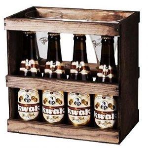 Brasserie Bosteels Coffret bois Kwak 4 Bières Ambrées - 33 cl + 2 verres
