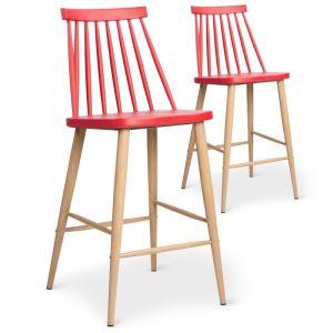 Stanley Ensemble de 2 chaises de Bar PAGODA rouge mode scandinave