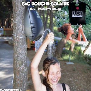 Adventure Goods Sac douche solaire camping 15 L