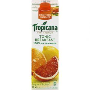 Tropicana Pur jus pressé d'orange, citron et orange sanguine, Tonic Breakfast - La brique de 1L