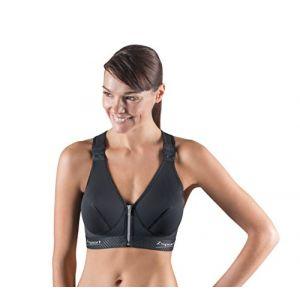 Zsport Zbra Silver Soutien-gorge de sport Femme Noir FR : 90E (Taille Fabricant : 90E)