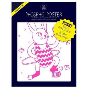 Omy Affiche Bunny / Phosphorescente - 30 x 40 cm Design & Play blanc,rose en papier