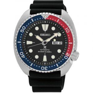 Seiko Montre Prospex Mer Diver's automatique lunette Pepsi cadran noir bracelet silicone noir 45 mm