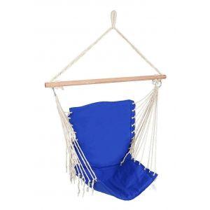 Hamac chaise fauteuil suspendu extérieur bleu 130 cm