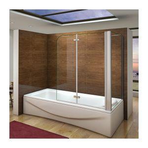 AICA Sanitaire Pare baignoire 100x140cm en verre anticalcaire pivotante à 180°et une paroi de douche en 75x140cm