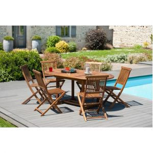 M&S Ensemble 1 table ovale 120*180/90 cm + 3 lots de 2 chaises
