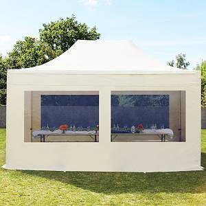 Intent24 Tente pliante 3x4,5 m avec fenêtres panoramiques beige PROFESSIONAL tente pliable ALU pavillon barnum.FR