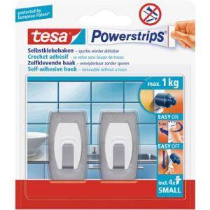 Tesa Crochet small rectangulaire Powerstrips® 57999-00-02 acier inoxydable (brossé) 1 l'ens.