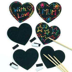 Baker Ross 10 décorations à gratter aimantés : coeur scratch art