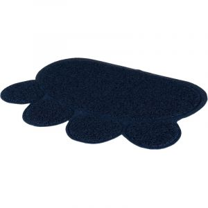 Trixie Tapis pour bac à litière en forme de patte bleu 60 × 45 cm