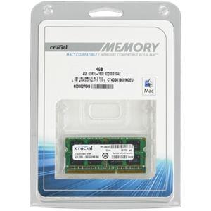 Crucial CT4G3S160BMCEU - Barrette mémoire 4 Go DDR3 1600 MHz SoDimm 204 broches pour Mac