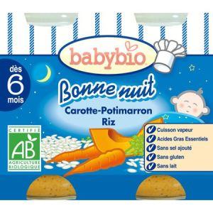 BabyBio Bonne Nuit : Carotte Potimarron Riz 2 x 200g - dès 6 mois