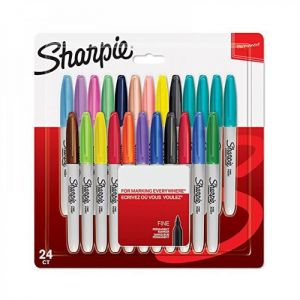 Sharpie Lot de 24 marqueurs permanents - Pointe fine - Assortiment de couleurs fun