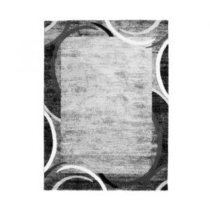 SUBWAY ENCADRE Tapis de salon contemporain en polypropylène 240 x 340 cm Gris