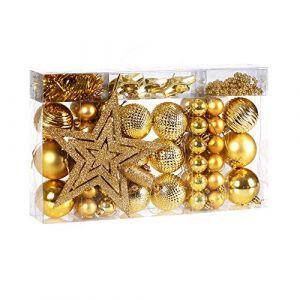 Deuba Lot de 66 boules et décorations de Noël rose, boule, étoile, guirlande, perles