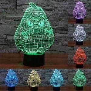 WeWoo Lampe 3D Blanc Gourde Style 7 Couleur Décoloration Creative Visual Stéréo 3D Tactile Commutateur LED Lumière Bureau Nuit
