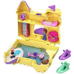 Mattel Polly Pocket Coffret Univers Le Château de Sable avec 2 Mini-Figurines et Accessoires, Autocollants et 5 Surprises Cachées, Jouet Enfant, édition 2018, GCJ87