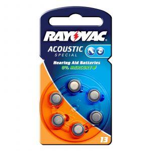 Rayovac 04606 945 416 - Blister de 6 piles zinc-air Acoustic 1,4V/290mAh format V13/PR48