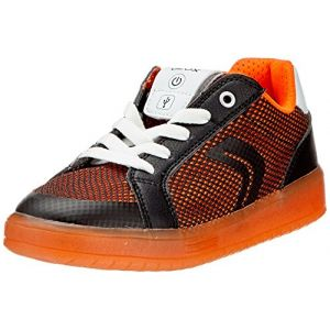 Image de Geox Kommodor A, Sneakers Basses Garçon, Noir (Black/Orange), 35 EU