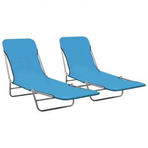 VidaXL Chaises longues pliables 2 pcs Acier et tissu Bleu