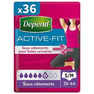 Depend Active Fit 9 Sous-Vêtements Femme Taille S/M - Lot de 4