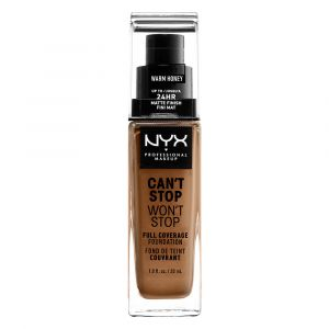 NYX Cosmetics Can't Stop Won't Stop Fond de Teint Liquide Couvrant Tenue Waterproof, Fini Mat - Fond de Teint Liquide Longue Tenue - Warm Honey - Marron - 24 h