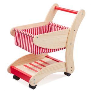 Howa Chariot de supermarché en Bois Nature / Rouge pour Enfant 48821