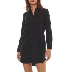 Vero Moda Vmsilla Ls Short Dress Blck GA Noos, Robe Femme, Noir (Black Black), 40 (Taille Fabricant: Medium)