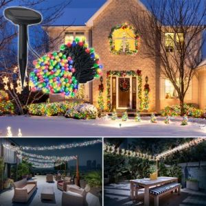 Idmarket Guirlande solaire 200 led multicolores décoratives