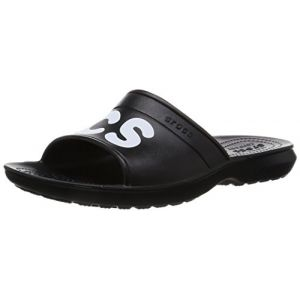 Crocs Classic Graphic Slides, Mixte Adulte Sandales, Noir (Black/White), 41-42 EU